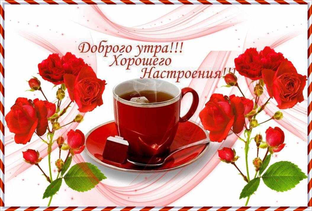 Открытка с пожеланием доброго утра и хорошего дня и настроения женщине