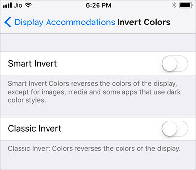 2 color reversing modes on the device