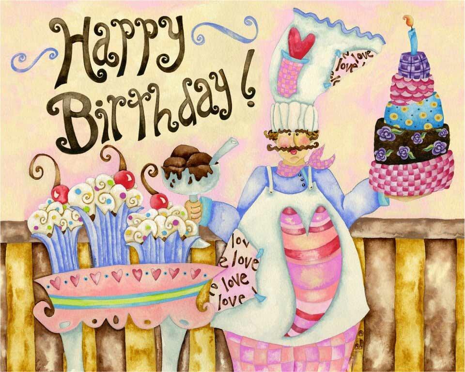 Картинка с днем рождения кондитеру, новогодними часами
