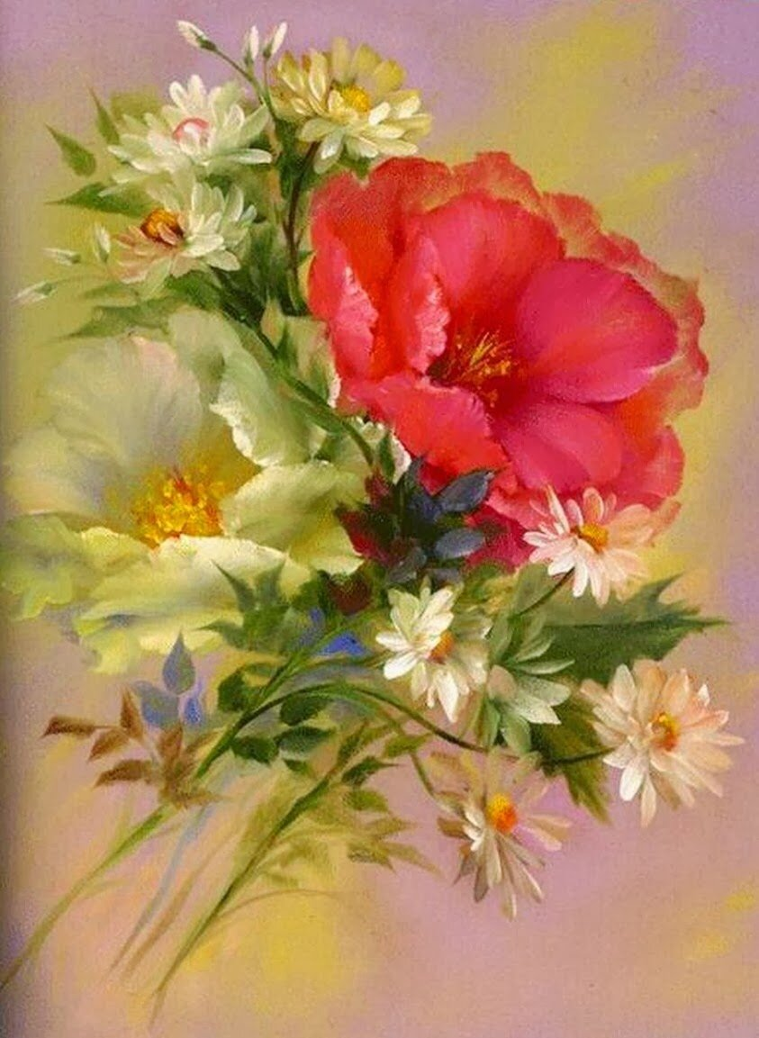 Месяцев ребенку, открытки цветы художники