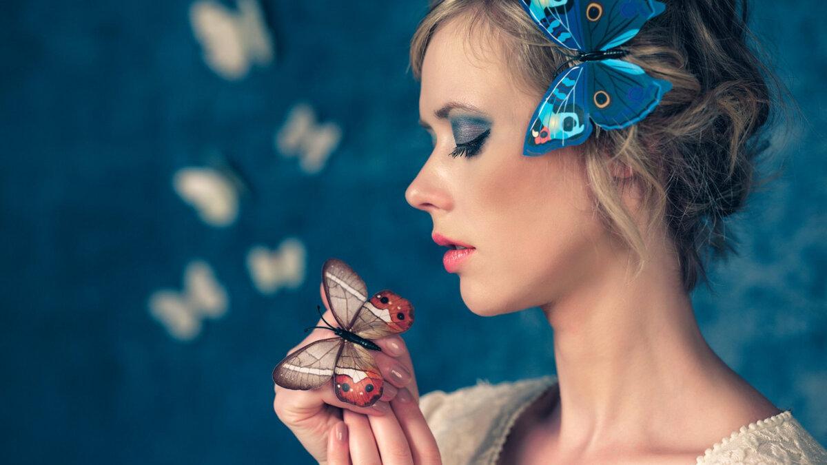 Девушка с бабочками картинки фото
