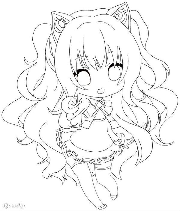 Cute Hatsune Miku Chibi Drawing Coloring Page - NetArt | 704x600