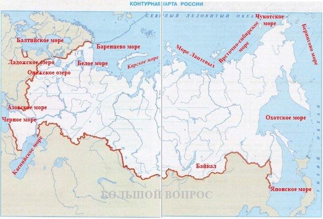 равнины россии на контурной карте нанесенным изображением крепится