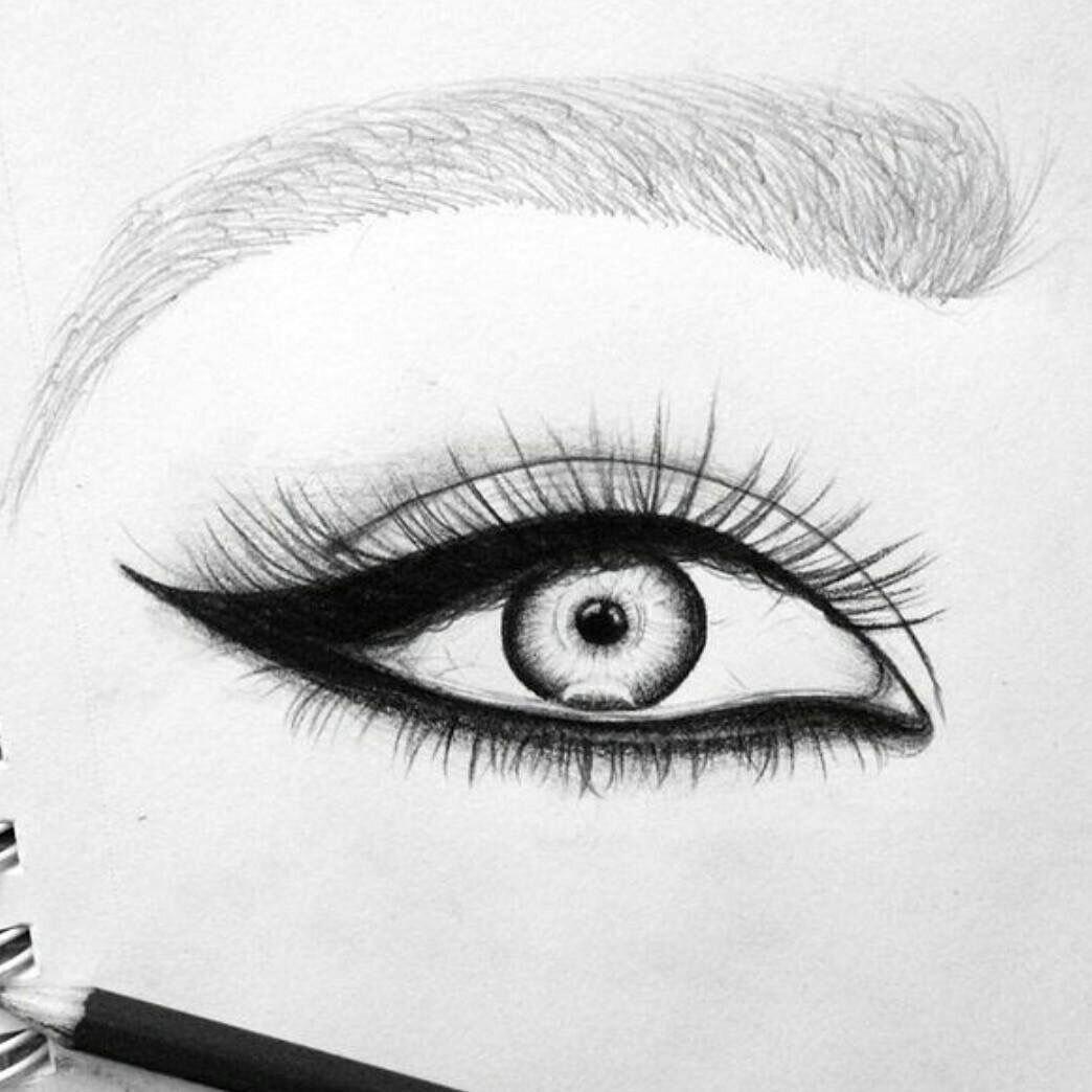 рисунки макияжа карандашом на бумаге для начинающих чтобы задумываться
