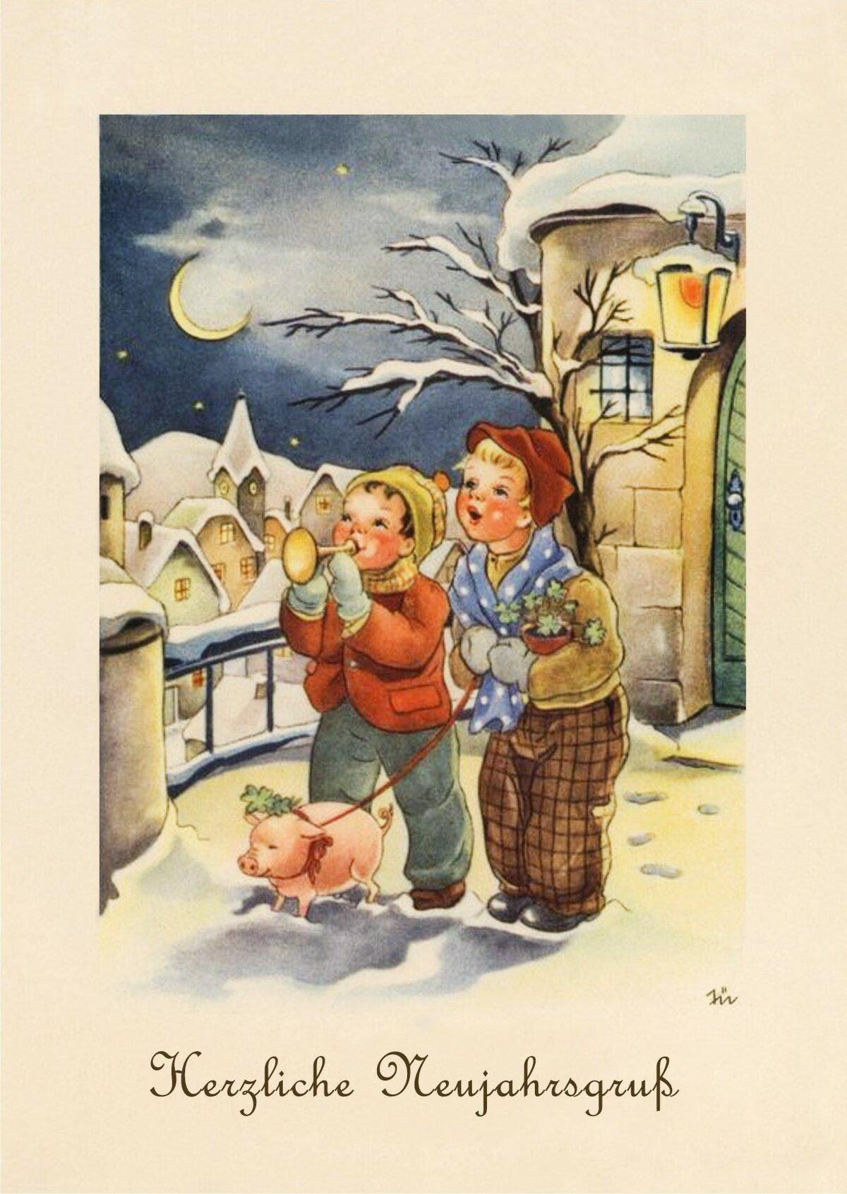 Открытка новый год немецком, картинки про