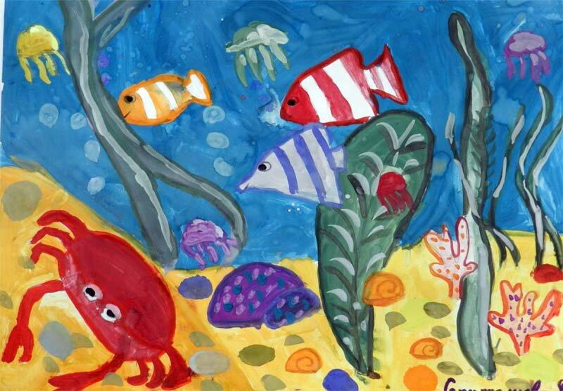 загружаются рисунок рыб в аквариуме красками рецепт борща грибами
