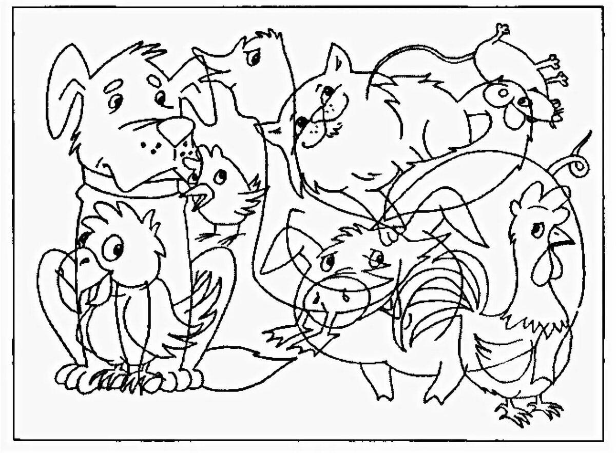 Найдите на картинке животных