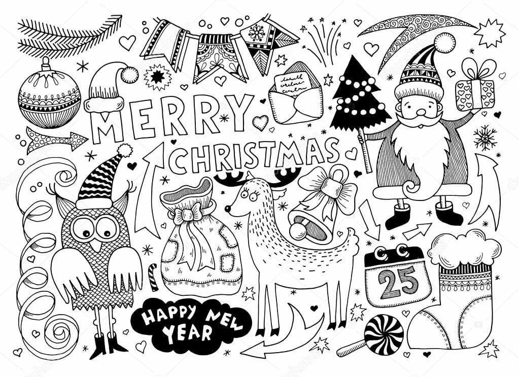 Новогодние картинки черно белые для лд