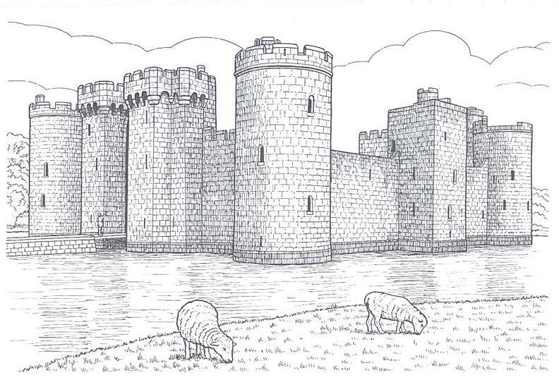 рисунки карандашом замок средневековье образом
