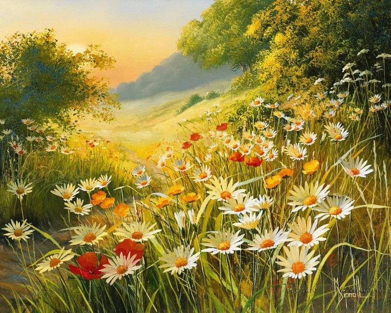 Картинки про пейзаж с цветами