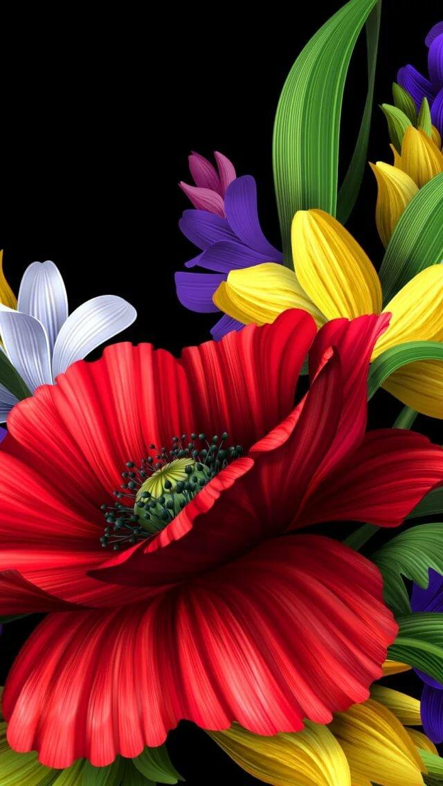 Открытку днем, картинки анимация цветы в телефон