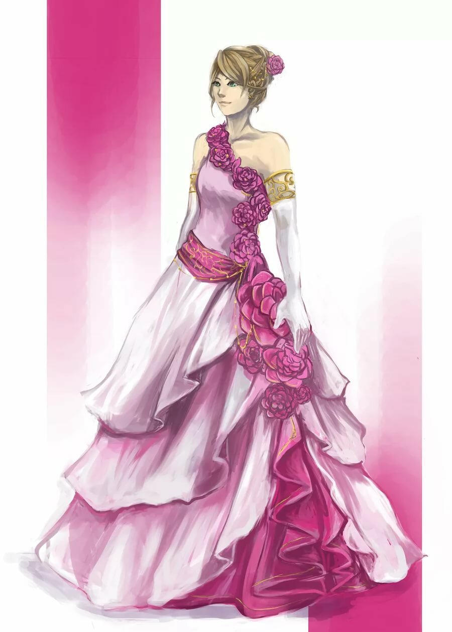 Fantasy)))) anime girl in ball gown