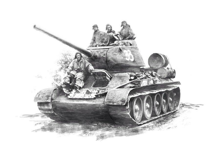 Год день, открытка с танком т-34