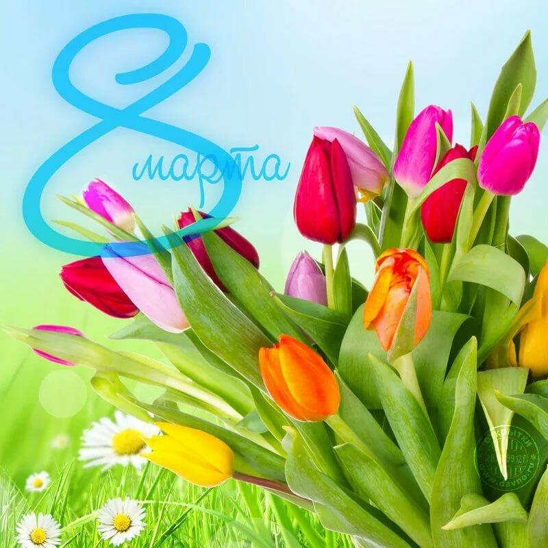 С 8 марта картинки с тюльпанами