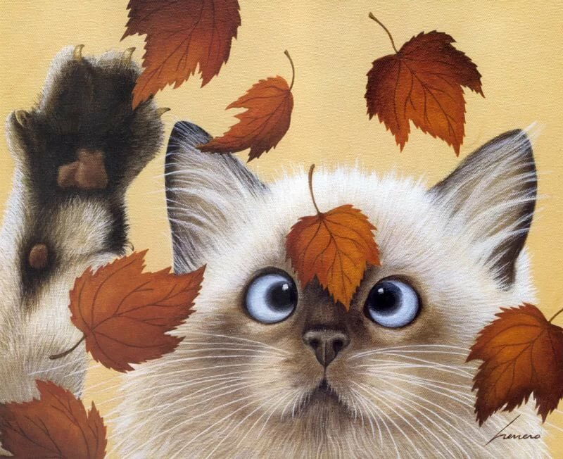 Картинки осенние прикольные с животными