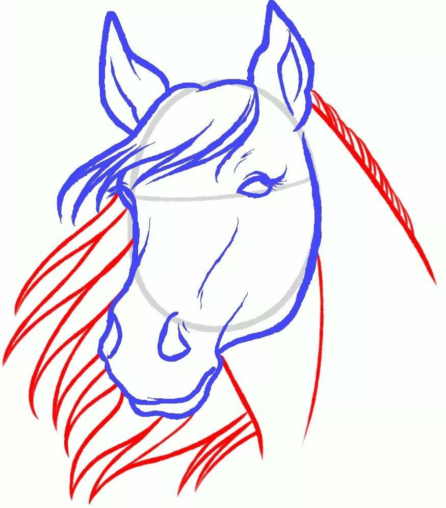 Смешная лошадь рисунок карандашом поэтапно, картинки мамой ребенком