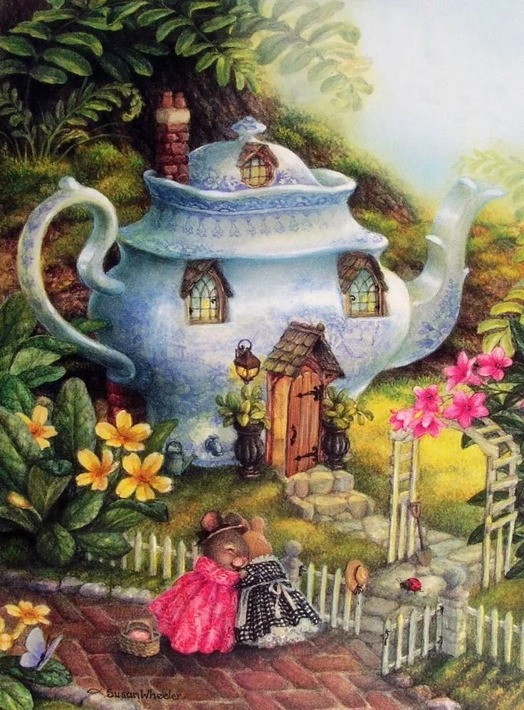 Чайные домики декупаж картинки с балконом нарядах