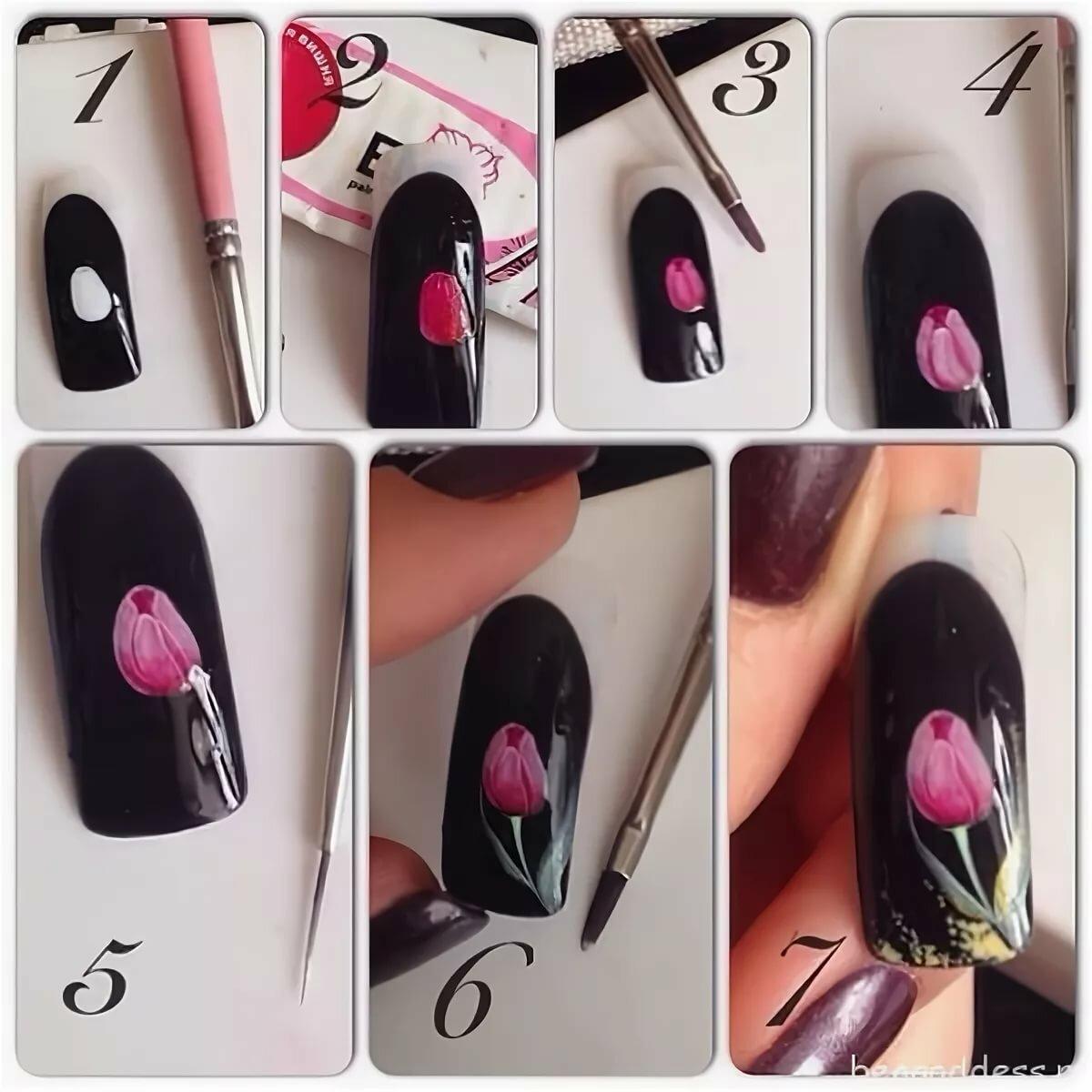Дизайн ногтей поэтапно в картинках акриловыми красками