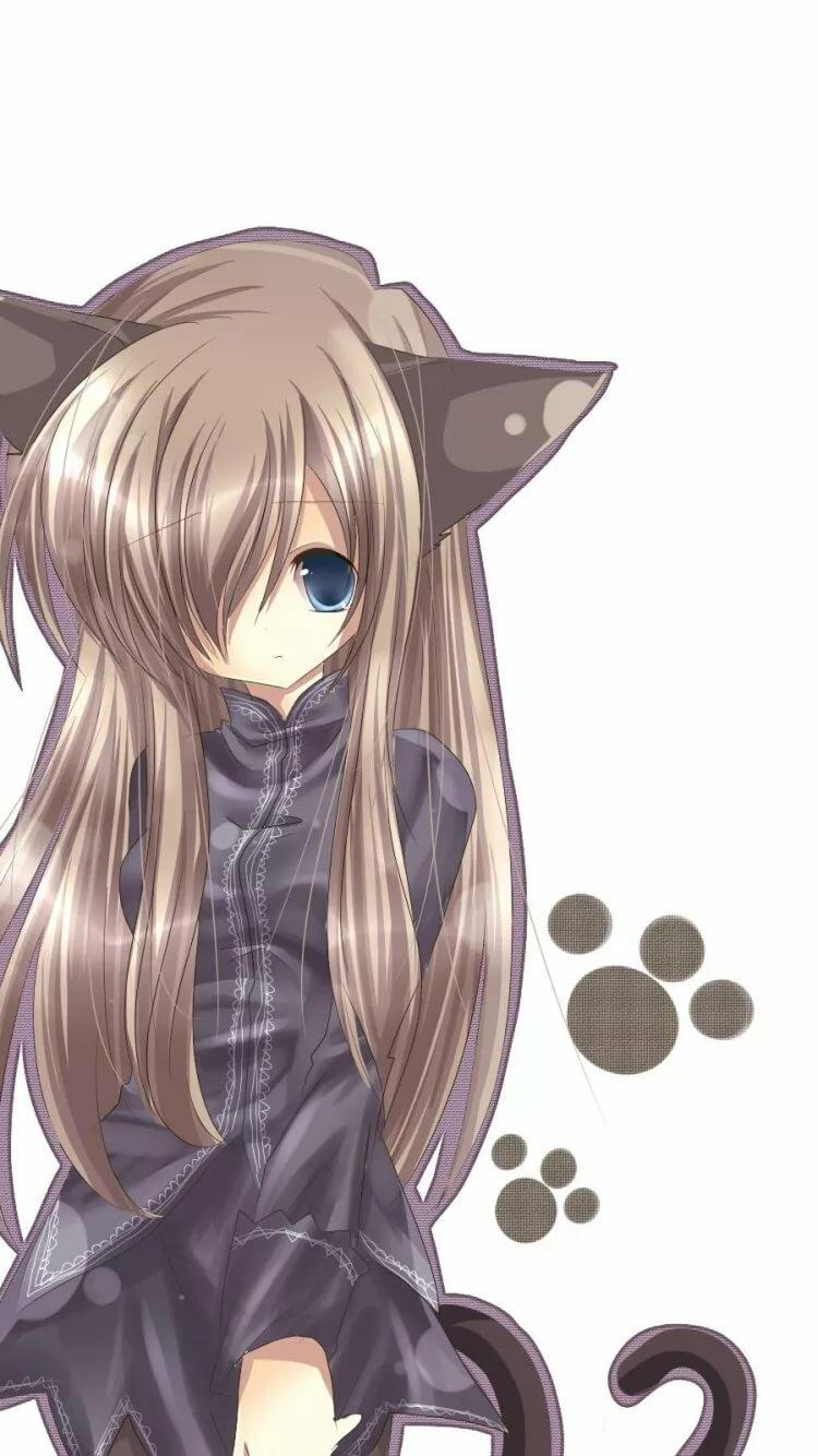 Картинки аниме девушек с длинными волосами и ушками с хвостами
