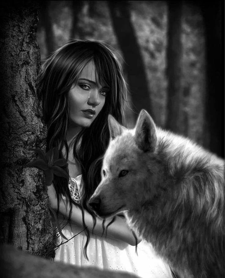 Волчица и девушка картинка