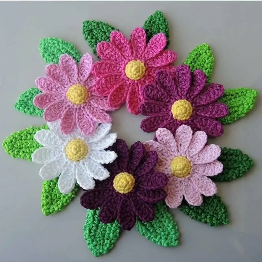 Вязание крючком цветочек в картинках