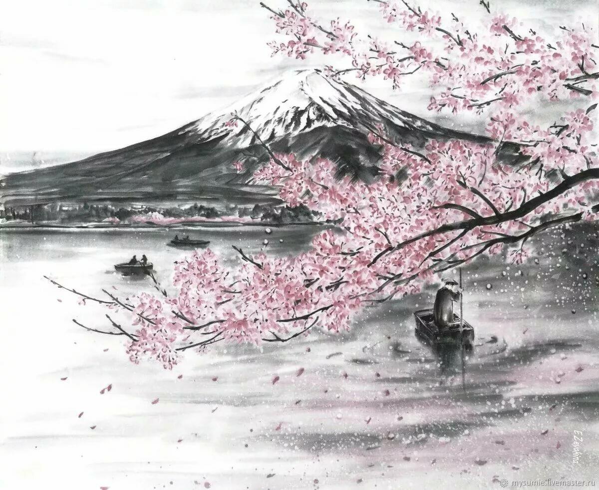 Рисунок на тему япония акварелью