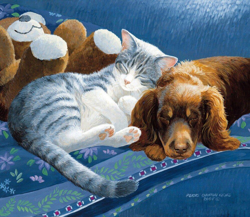 Год картинки, прикольные рисунки с кошками и собаками
