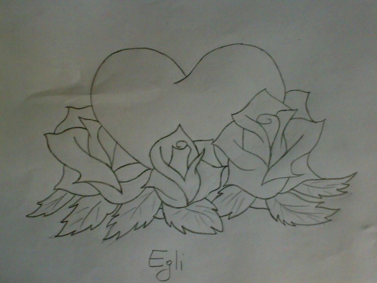 Сердечко картинки красивые карандашом, поздравительным