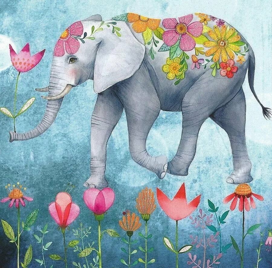 Днем рождения, открытки с слонами