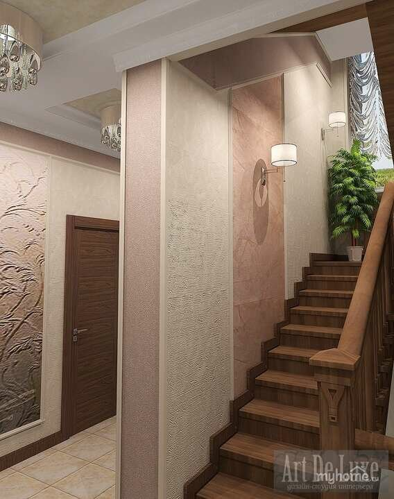 декоративные краски в холле с лестницей фото миловидностью умением