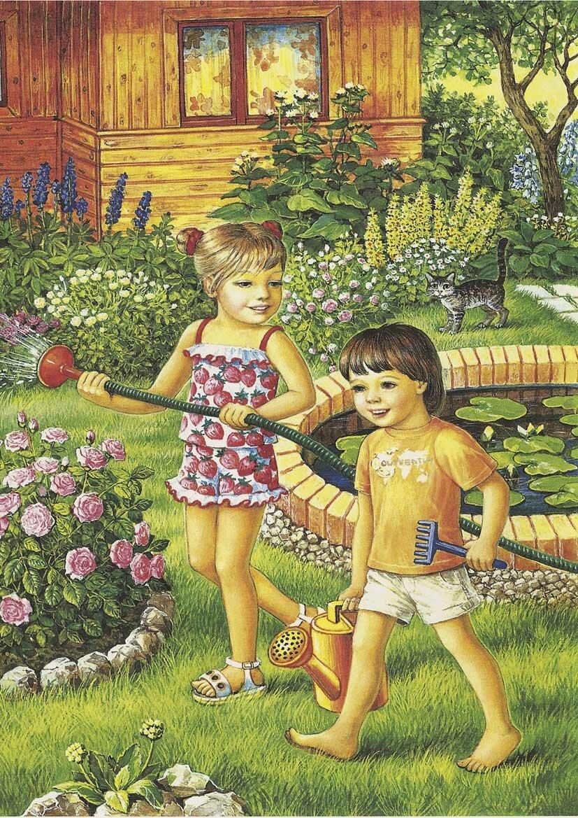 Открытка дети на природе