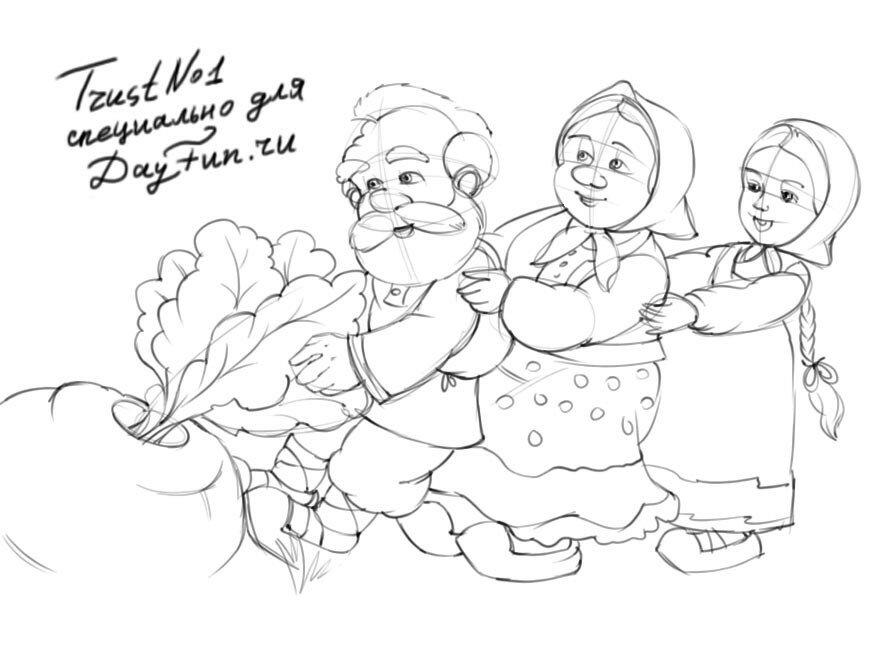рисунки к сказке репка карандашом правильно
