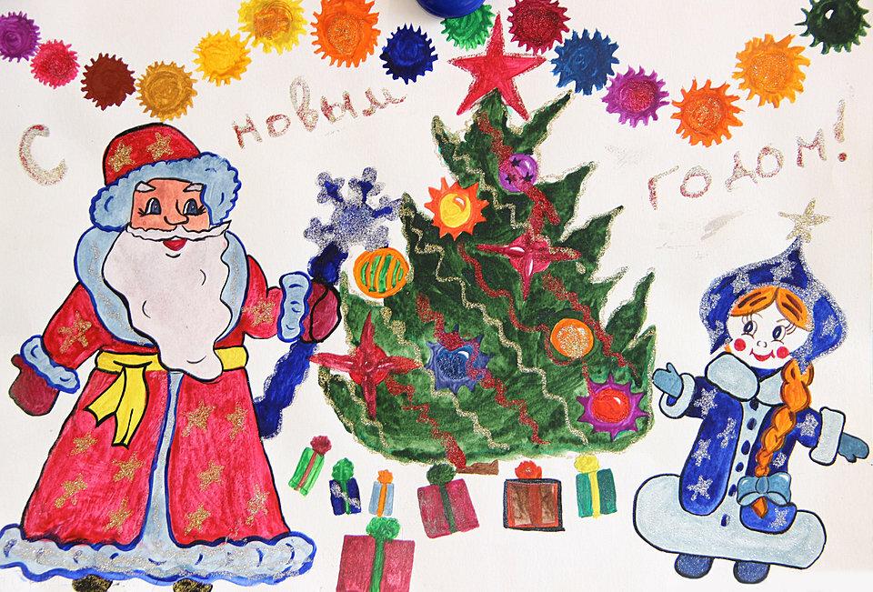 Рисунок детский новогодняя открытка