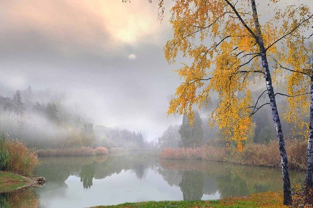 Сидела осень у воды.