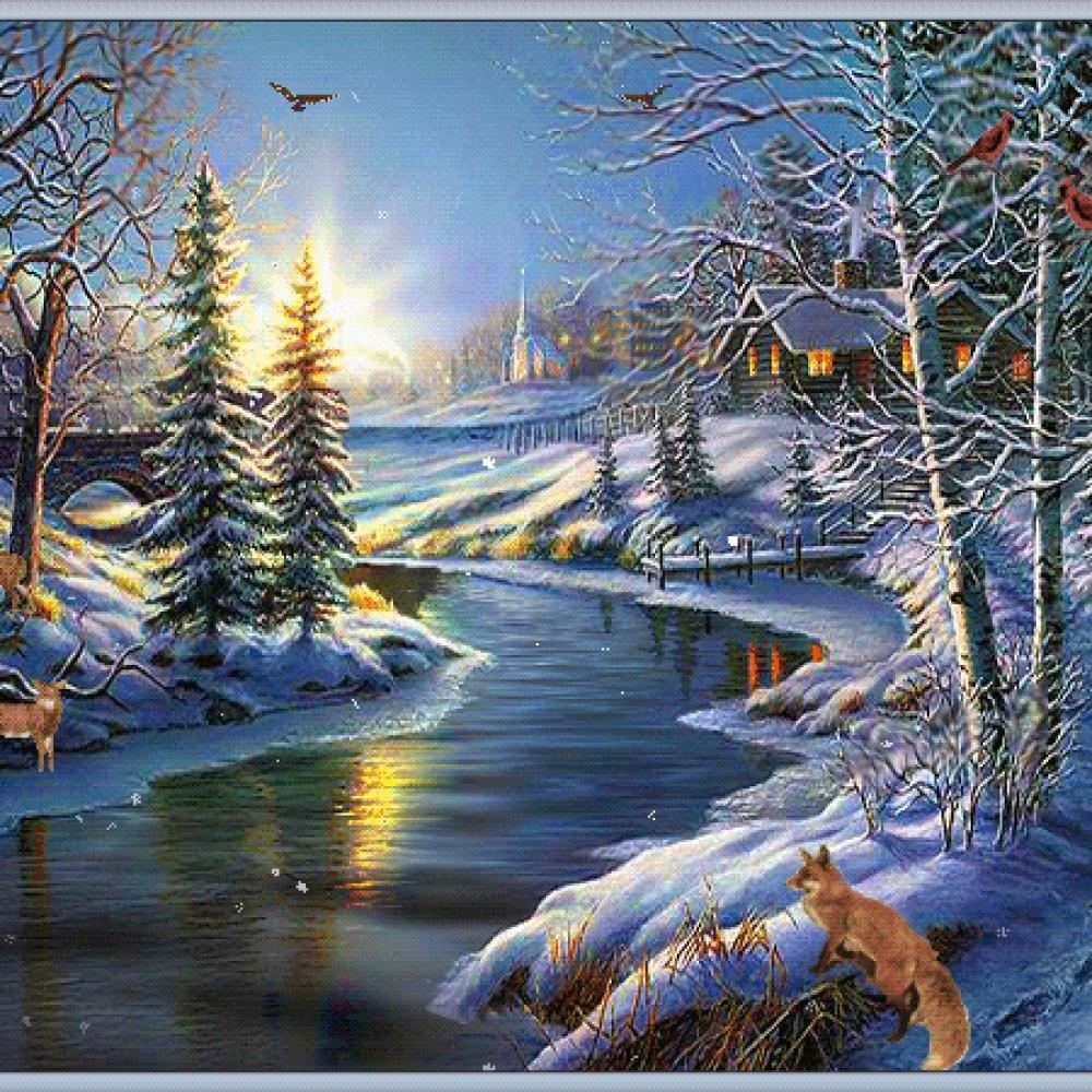 Открытка поздравительная с зимним пейзажем, веселые