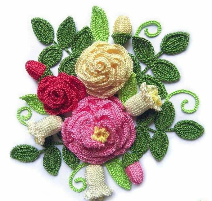 Открытка с цветами вязанные крючком