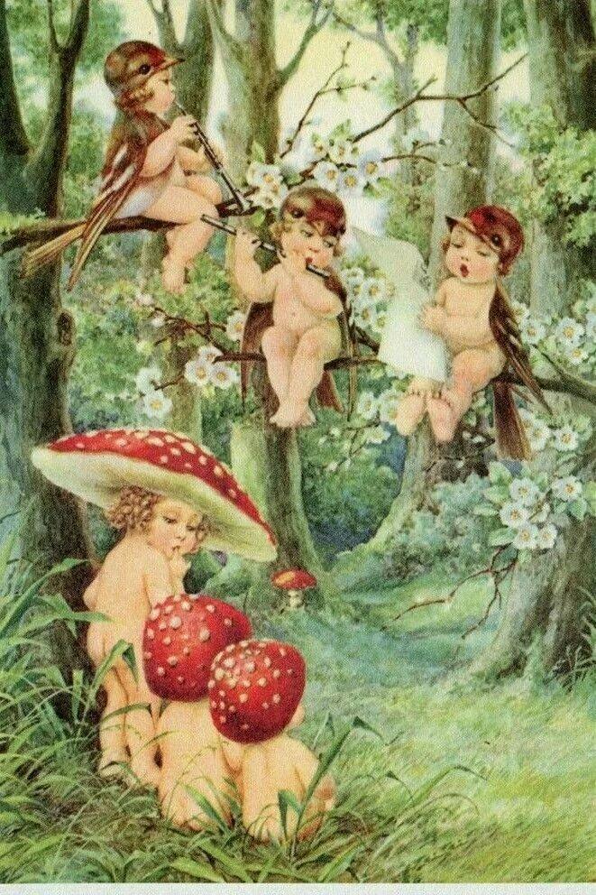 Поздравлением, грибы старинные открытки