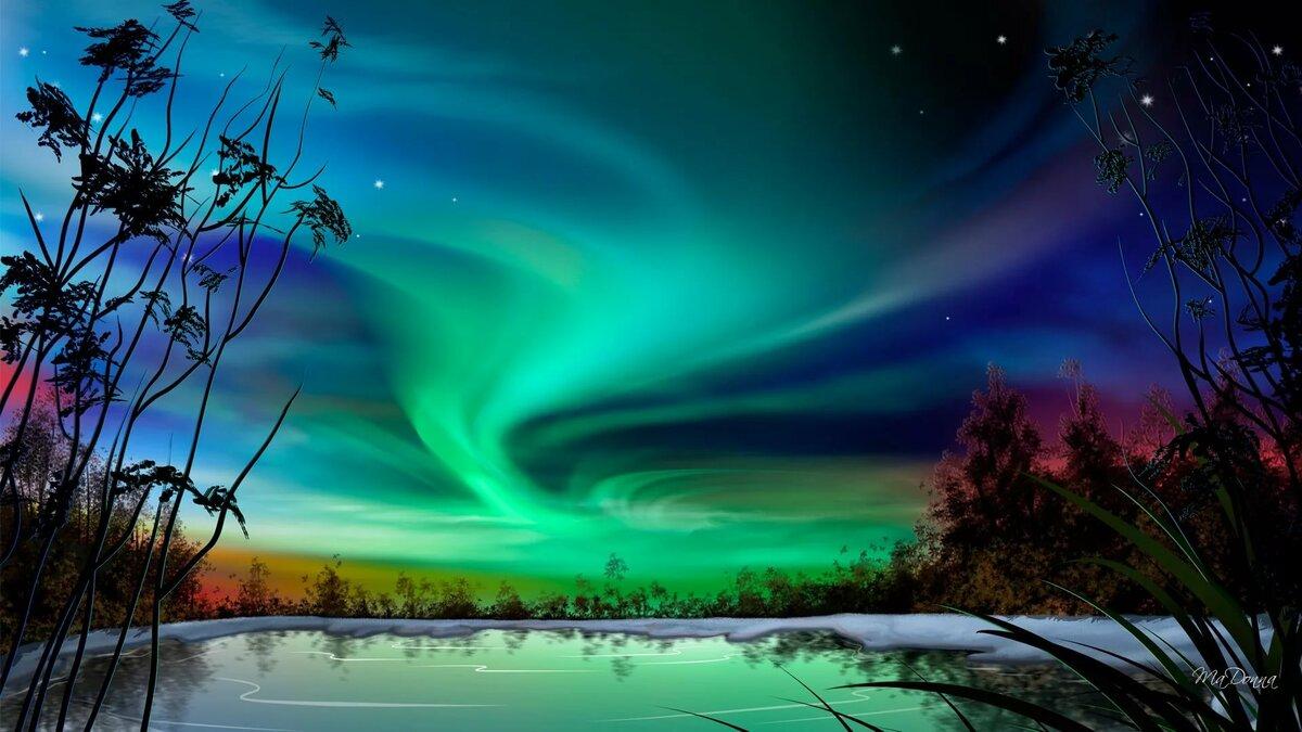 Картинка зима северное сияние