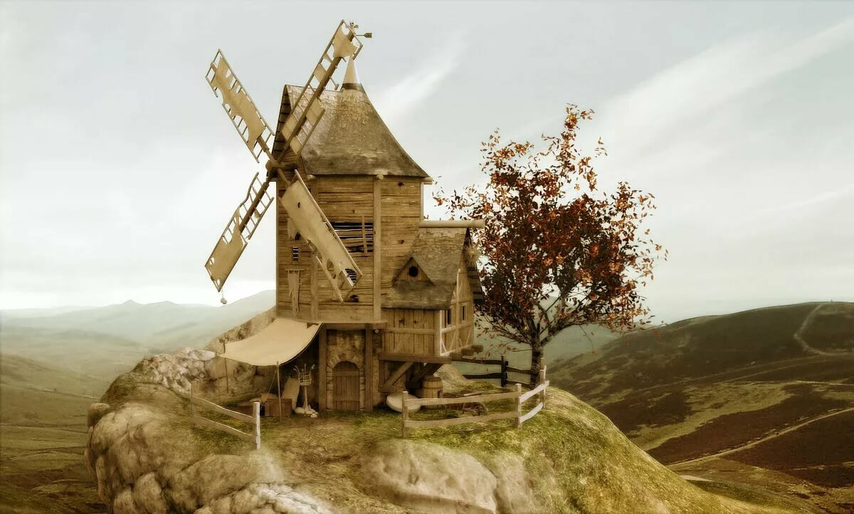 Картинка древняя мельница
