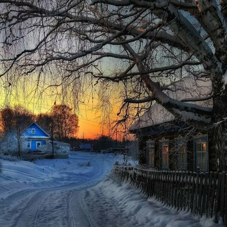 Летием, картинки зима в деревне красивые пейзажи