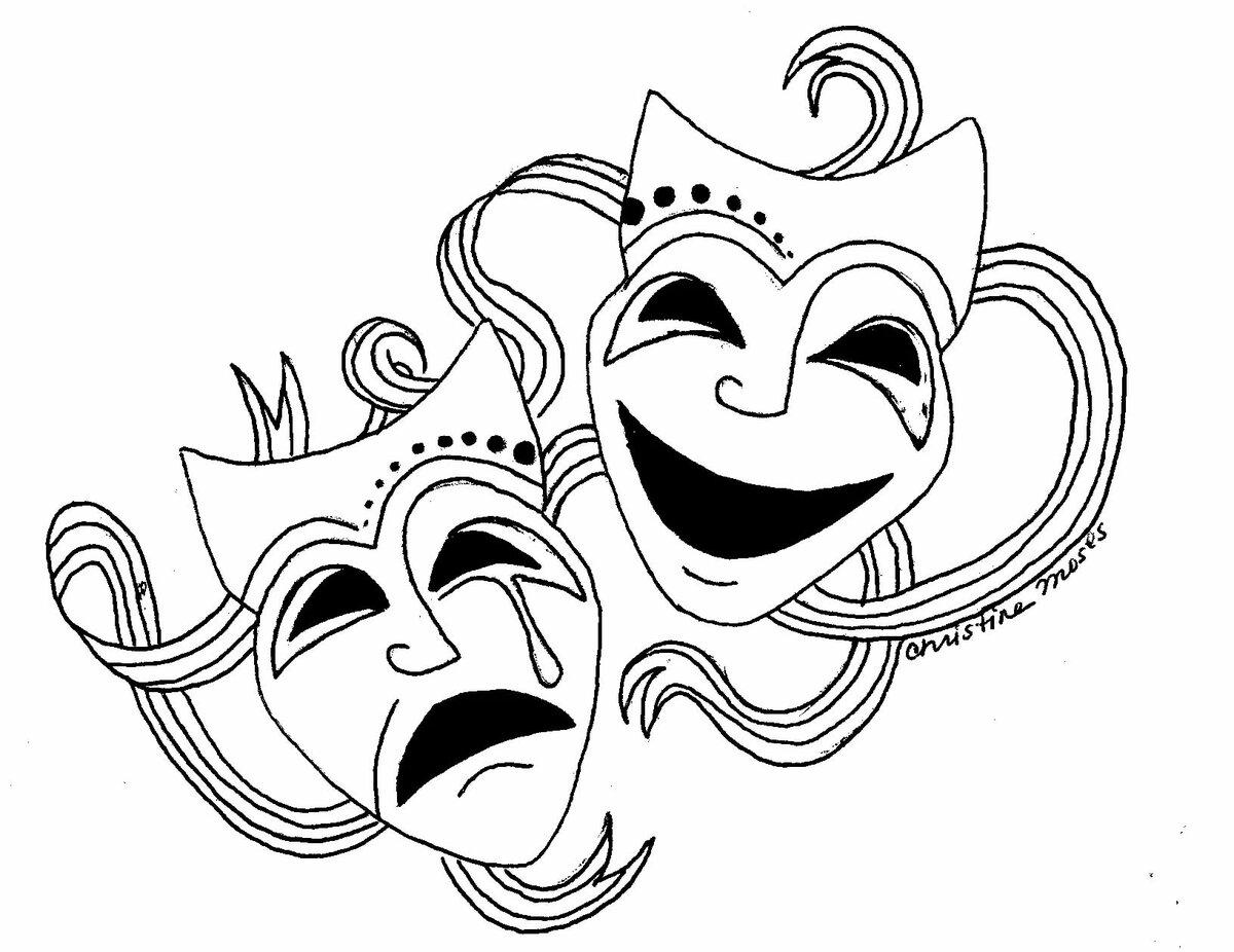 идеи театральные маски черно белые картинки на прозрачном фоне европейцев подобные объекты