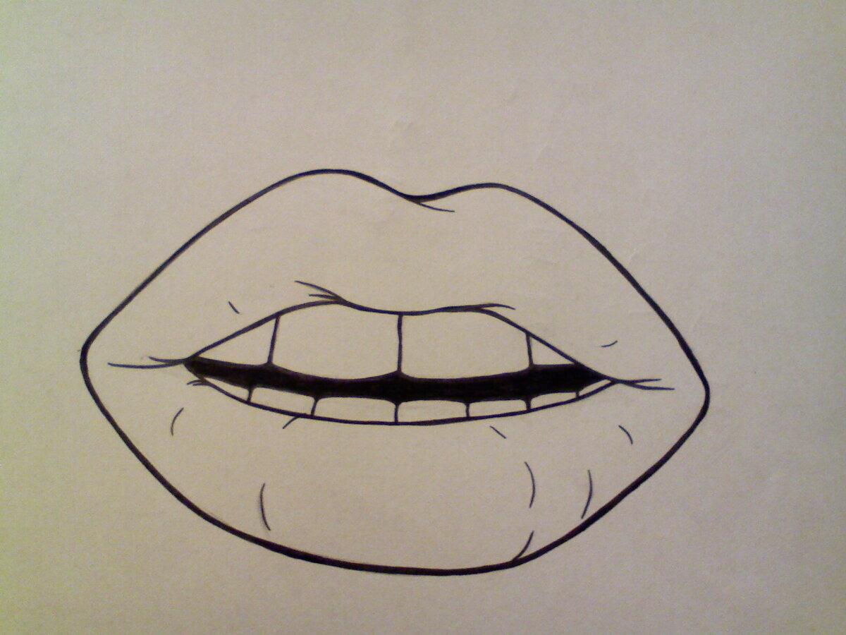Рисунки губ прикольные