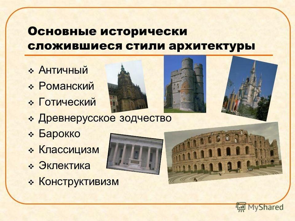 бумагу архитектурные стили и их особенности таблица с картинками более