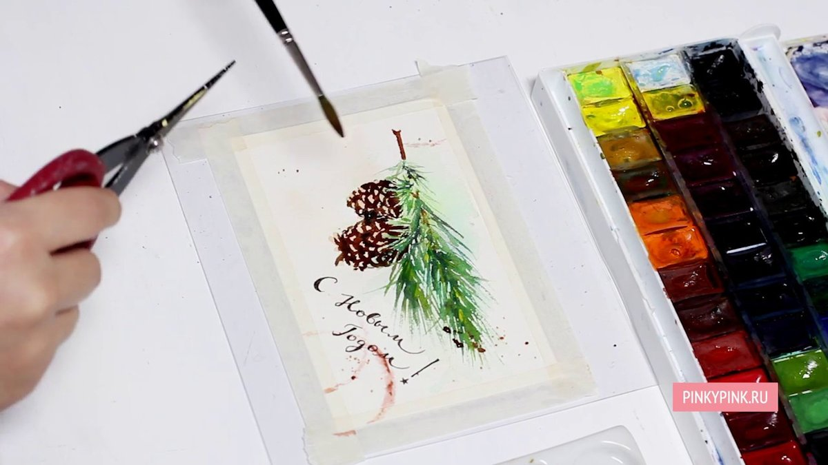 Новогодние открытки акварелью видео мастер класс для начинающих