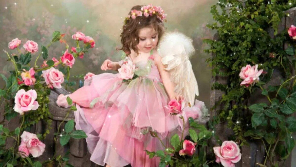 Открытки с цветами и ангелочками, надписи картинки