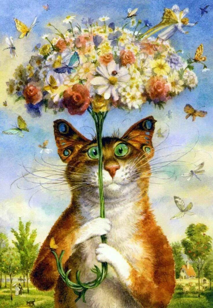 Открытка цветы с котами