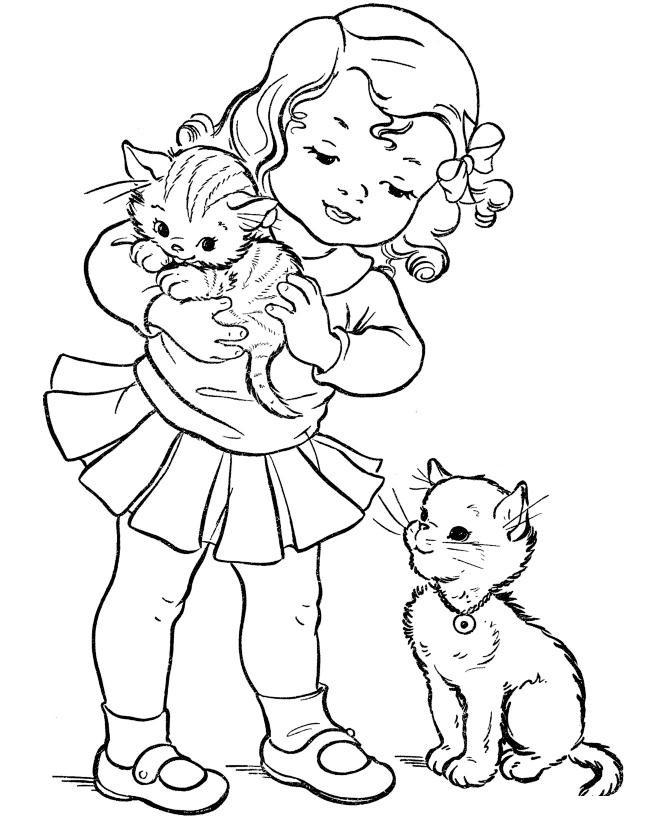 Девочка с котенком картинки для распечатки