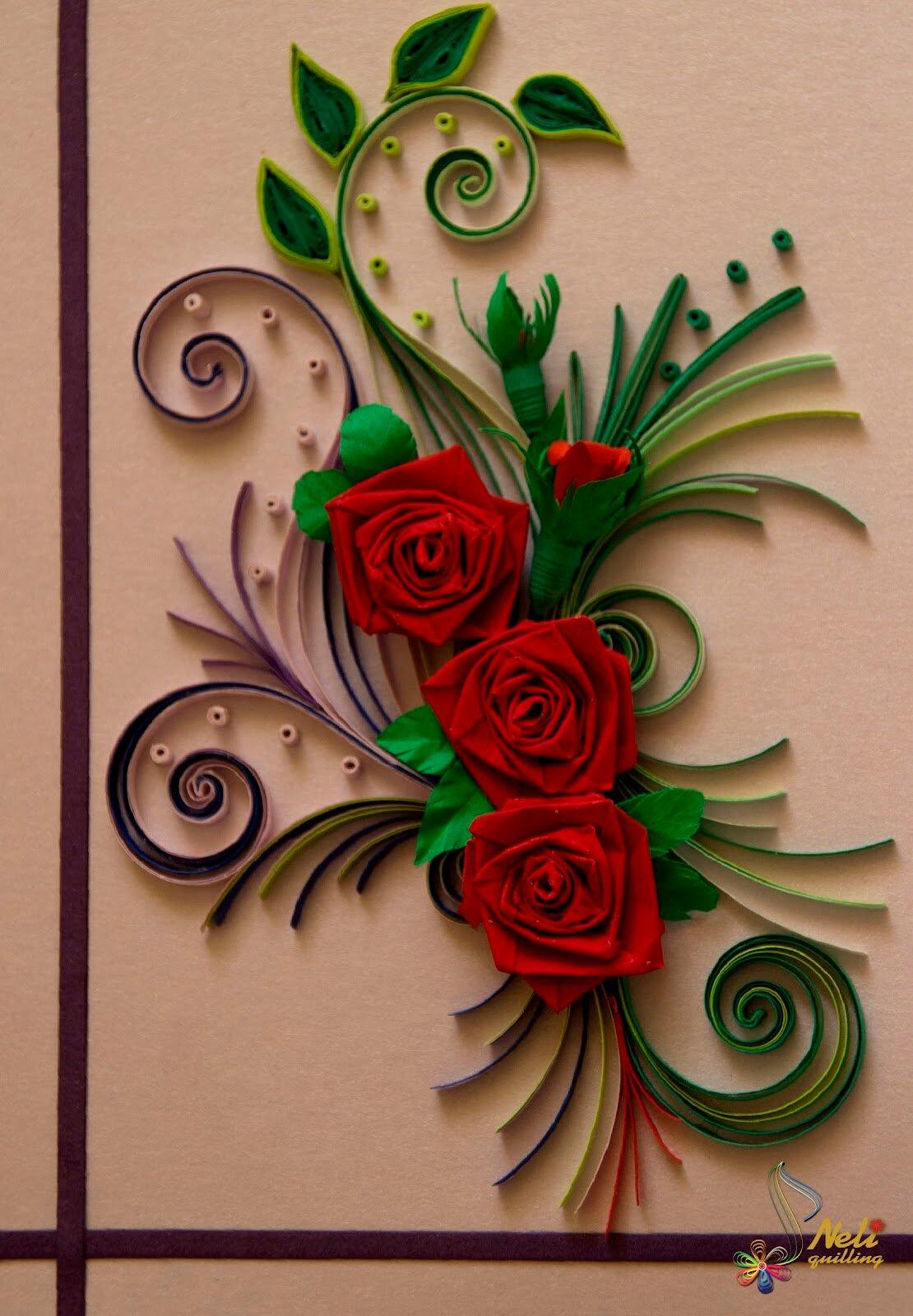 Прикольными, открытки по квиллингу с розами
