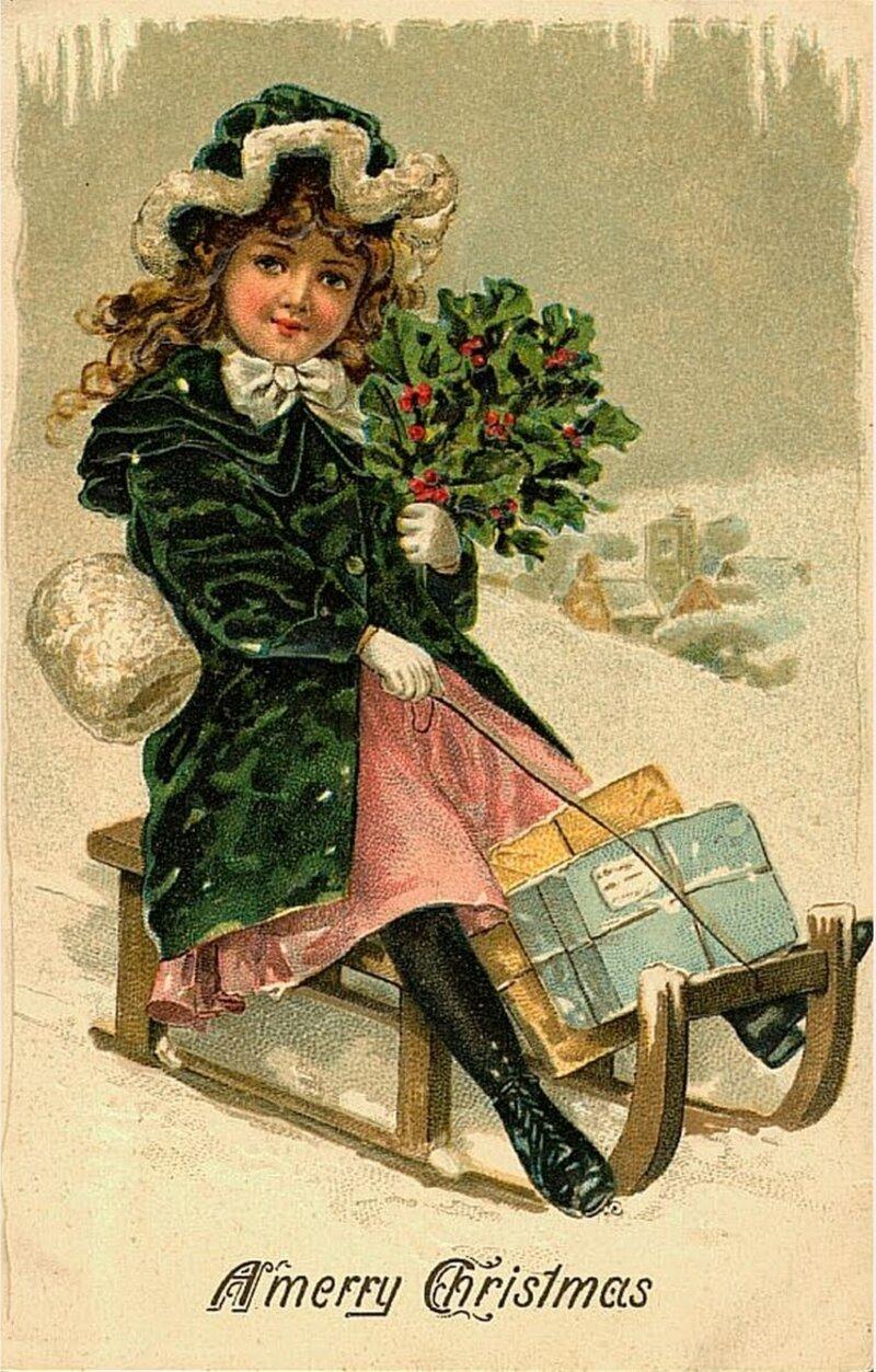 Днем, открытка с новым годом винтаж ретро