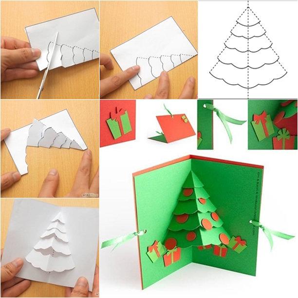 Картинки, как сделать елку открытку из бумаги
